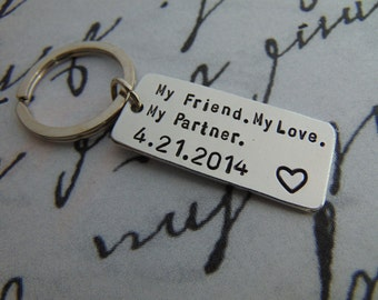 My Friend My Love My Partner Keychain, Anniversary Gifts For Men, Girlfriend Gift, Long Distance Realtionship, Gift For Boyfriend, Men Gift