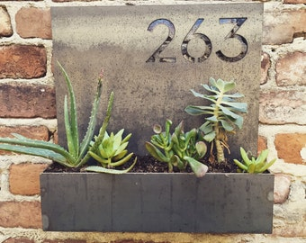 Garden District House Number Planter