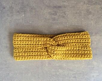 Crochet Headwrap - Women's Twisted Crochet Knot Headband - Mustard