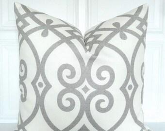 Grey Pillow Cover - Trellis - Decorative Pillow Cover - Grey and Off White -  Throw Pillow - Accent Pillow - Toss Pillow - 18x18, 20x20
