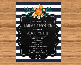 Customizable Navy Floral Bridal Shower Invitation