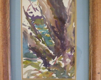 WATERCOLOR LANDSCAPE Trees by The Lake Upstate