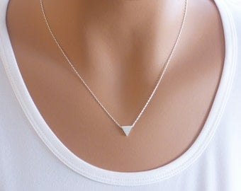 Triangle Necklace, Silver Triangle Necklace, Tiny Triangle Necklace, Triangle Geometric Necklace ,Triangle, Geometric Necklace, Geometric