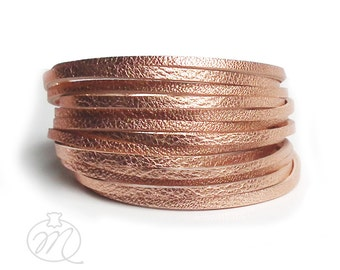 Leather bracelet pink gold