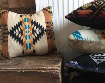 Wool Pillow Cover, Tribal Pillow in Pendleton Wool, Tan throw Pillow, Native Print Pillow Cover, Bohemian Pillow, Western Pillow Cover