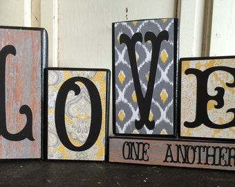 Wood Block Set - LOVE ONE ANOTHER - Block Set - Yellow and Gray