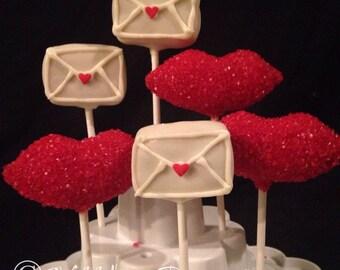 "1/2 dz ""Sending Kisses""  GIFT BOX of cake pops 1/2 dozen, Sealed with a kiss"