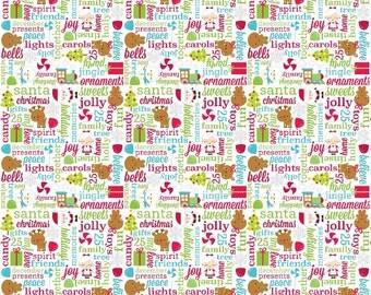 Santa Express Greetings in multi-color by Doodlebug designs for Riley Blake
