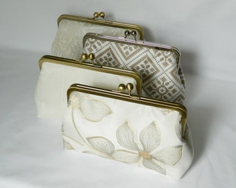 Combination Set of 4 Bridesmaids Clutch, Wedding Clutch, Ivory Combination Set of Clutch, Bridesmaids Clutch, Bridesmaids Gifts