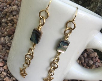 Lotus with Abalone Dangle Earrings