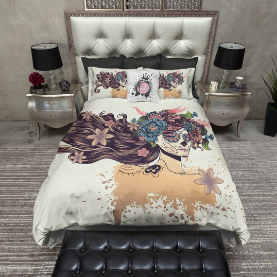 Featherweight Sugar Skull Bedding Beautiful by InkandRags