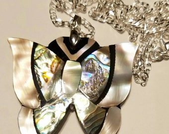 Butterfly pendant with mother of pearl inlay