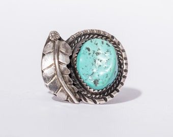 Vintage Southwest Native American Turquoise & Sterling silver Ring Size 8