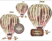 Victorian Girl Airship Dirigible Printable Image Masking Art Relief Steampunk Shabby Pink Dress Flying Balloon Large Clip Art Digital Set