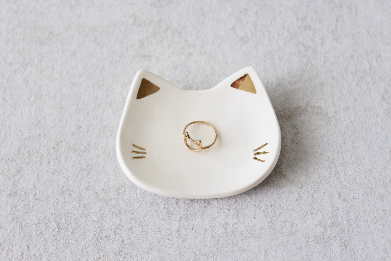 Cat Ring Dish - White