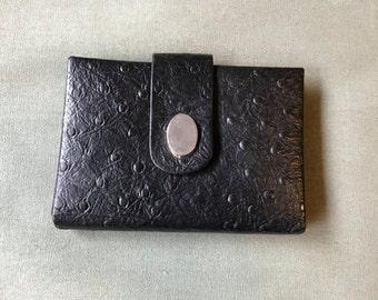 Vintage 60s Ostrich Wallet /black leather wallet