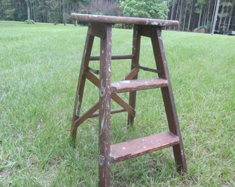 Vintage Wood Step Ladder, Small Wood Ladder, Kitchen Stool, Rustic, Photo Prop