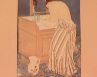 Lady Bathing at Vanity Sink