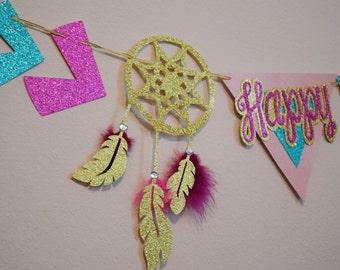 Boho Tribal Birthday Party Banner ; Dream Catcher Happy Birthday Banner ; Pow Wow Birthday ; Arrow Decoration