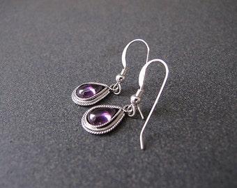 Amethyst silver earrings,Jewelry,Filigree earrings,Israeli jewelry,Amethyst earrings,purple earrings,small earrings,silver earrings