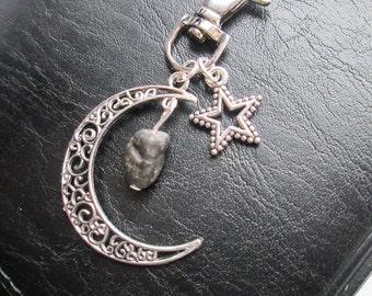 Tektite Moon Star Bag Charm Key Keychain - Meteor meteorite outer space alien themed bagcharm zipper pull zip charm gift  purse handmade uk