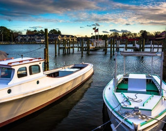 Boats in the harbor of St. Michael's, Maryland.   Photo Print, Stretched Canvas, or Metal Print.