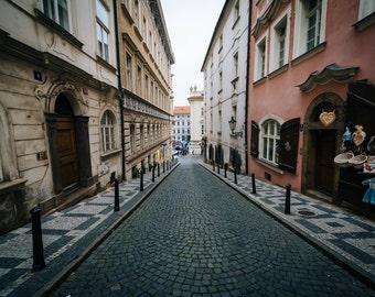 Zámecká, a narrow street in Malá Strana, Prague, Czech Republic - Photography Fine Art Print or Wrapped Canvas