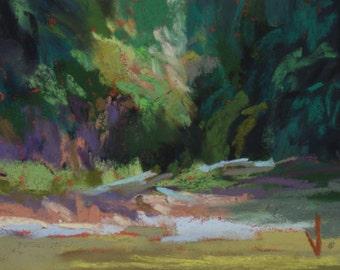 Ellijay River - ACEO -Pastel -2 1/2 x 3 1/2