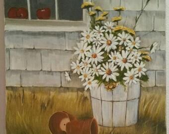 Vintage original painting, oil, daisies, still life