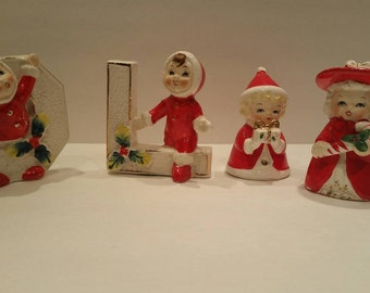 Vintage christmas ornaments, candle holders, christmas pixies,
