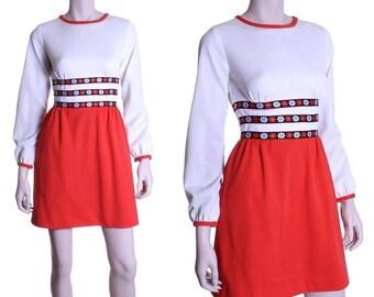 60s 70s floral Scandinavian mini dress - xxs or xs