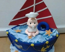 Royal and red cake topper for baby shower,Nautical cake topper,boat cake topper,topper for nautical theme ,nautical theme