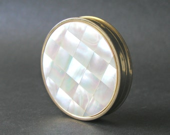 Vintage Max Factor Brass Compact With Mother Of Pearl Inlay