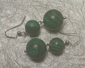 Green and Black Beaded Earrings No. 181