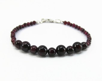 Garnet Bracelet - Natural Garnet - January Birthstone Bracelet - Garnet Jewelry - Birthstone Jewelry - Dark Red Garnet Bracelet - Garnet