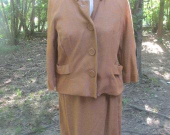 1950s wool blend skirt suit XS