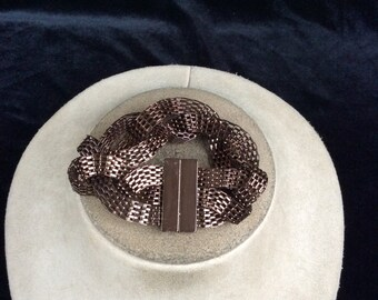 Vintage Chunky Copper Colored Braided Bracelet