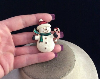 Vintage Sparkly Enameled Christmas Snowman Holding A Candy Cane Pin