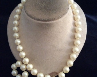 Vintage Chunky Long Faux Pearl Necklace