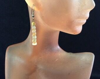 Vintage Tan & Clear Glass Beaded Pierced Dangle Earrings