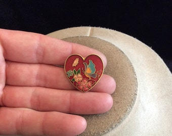 Vintage Multi Colored Enameled Heart With Butterfly & Flowers Pin/Pendant
