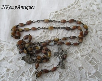 French rosary 1930's glass