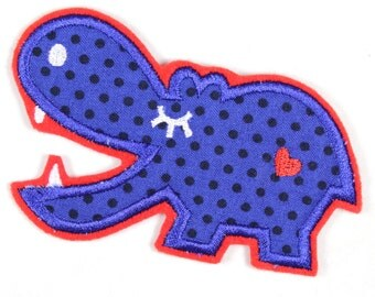 iron-on applique iron-on patches applique Patch Hippo 11 x 6,5cm / size inches 4.33 x 2.56