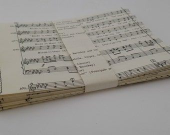 Set of 13 UPCYCLED ENVELOPES VINTAGE music pages, repurposed, music sheets, stationery
