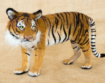 Kumal the Tiger: Needle felted animal sculpture