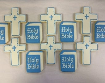 Bible Cookies and Cross Cookies for Boys Confirmation, First Communion Cookies, Confirmation Cookies, Personalized Religious Cookies
