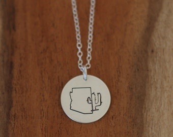 Sterling Silver Arizona and Cactus Necklace, Sterling Silver Southwest Necklace, Hand Stamped Saguaro Necklace, Dainty Cactus Necklace