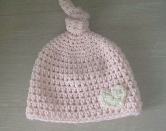 newborn baby hat, pink top knot baby girl hat, crochet baby hat