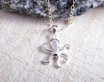 Sterling silver octopus pendant charm chain necklace octopus necklace