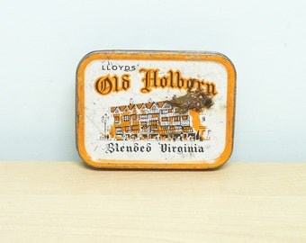 Old Holburn Tobacco Tin, Lloyd's, Rectangular Shape, Blended Virginia, Made in England, Advertising Tin, Tobacciana, Barware, Man Cave